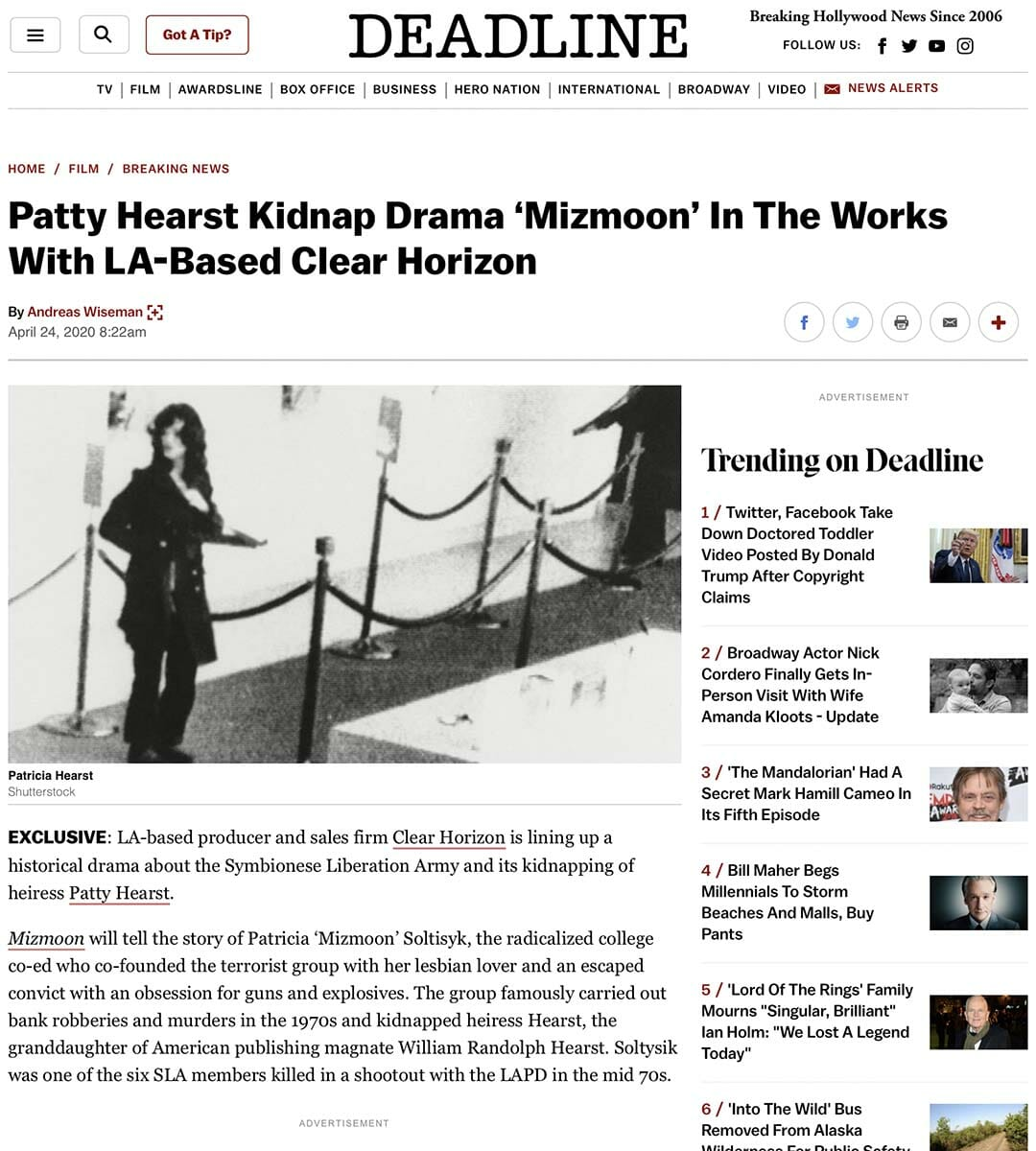 DEADLINE: Patty Hearst Kidnap Drama 'Mizmoon' In The Works With LA-Based Clear Horizon