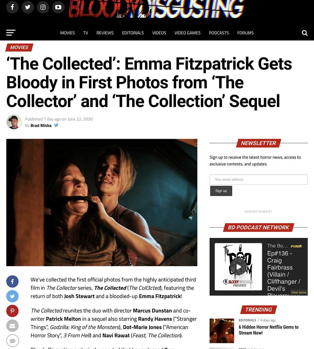 BLOODY DISGUSTING: 'The Collected': Emma Fitzpatrick Gets Bloody in First Photos from 'The Collector' and 'The Collection' Sequel