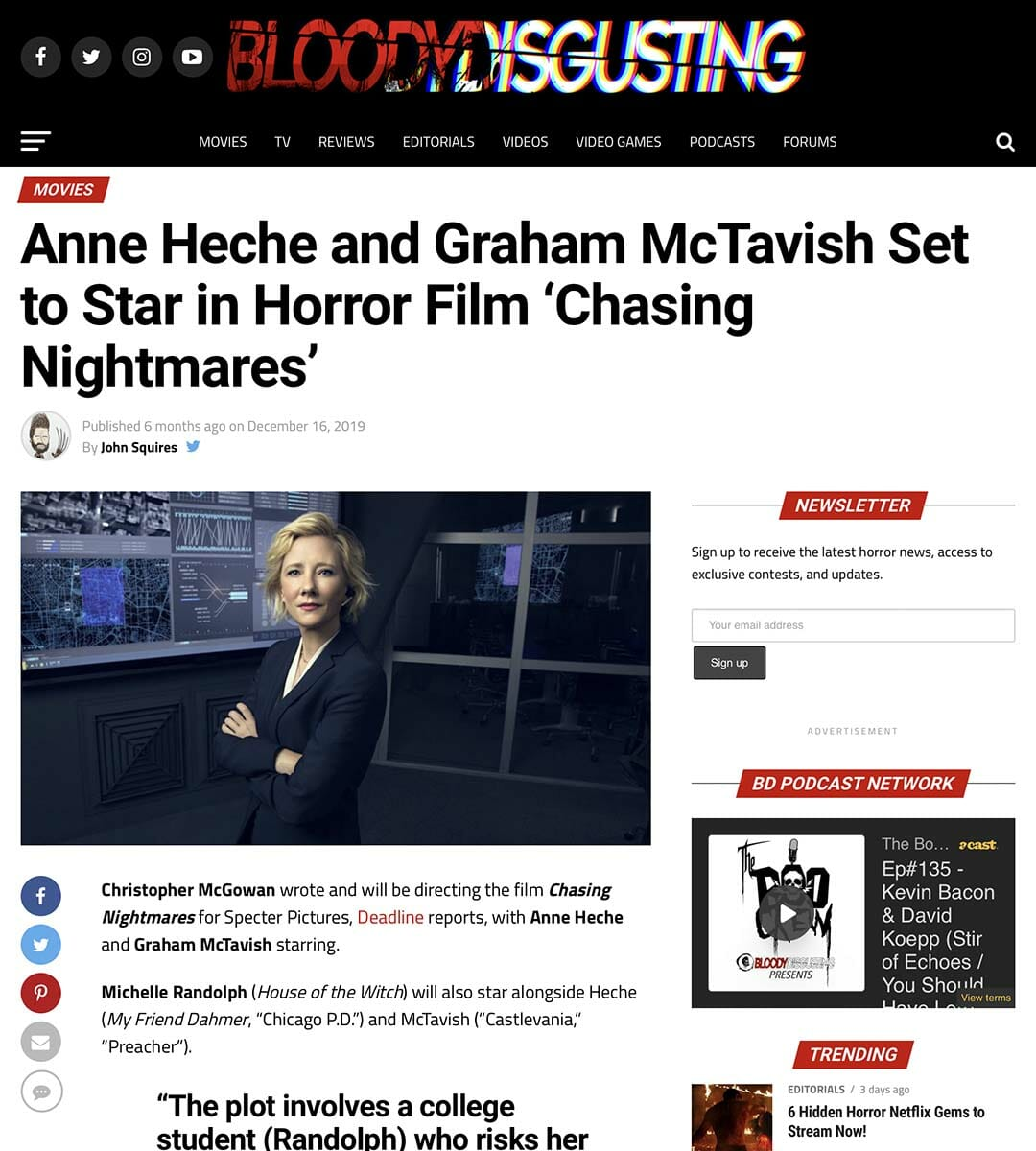 BLOODY DISGUSTING: Anne Heche and Graham McTavish Set to Star in Horror Film 'Chasing Nightmares'