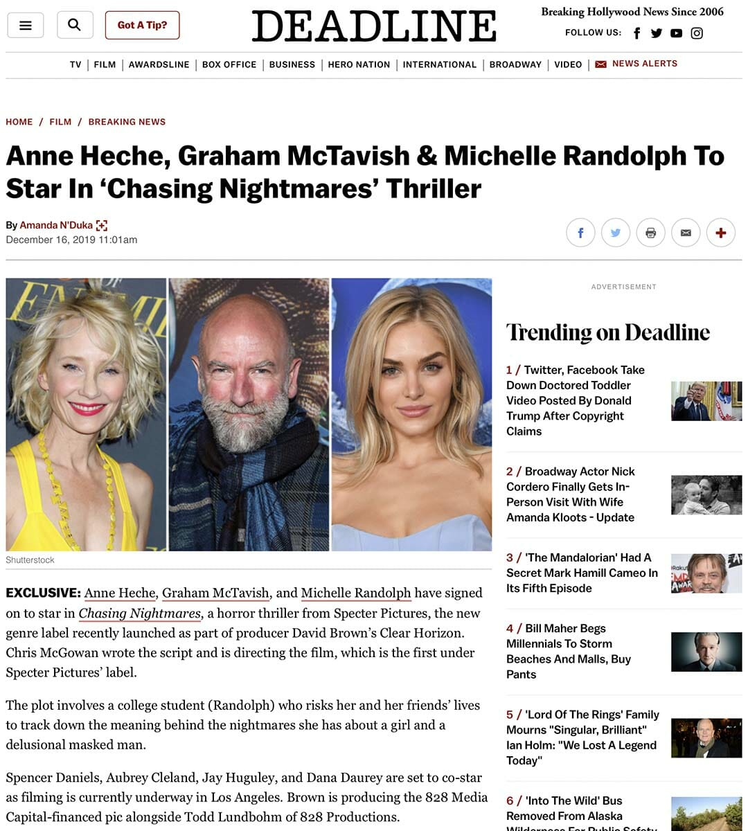 DEADLINE: Anne Heche, Graham McTavish & Michelle Randolph To Star In 'Chasing Nightmares' Thriller