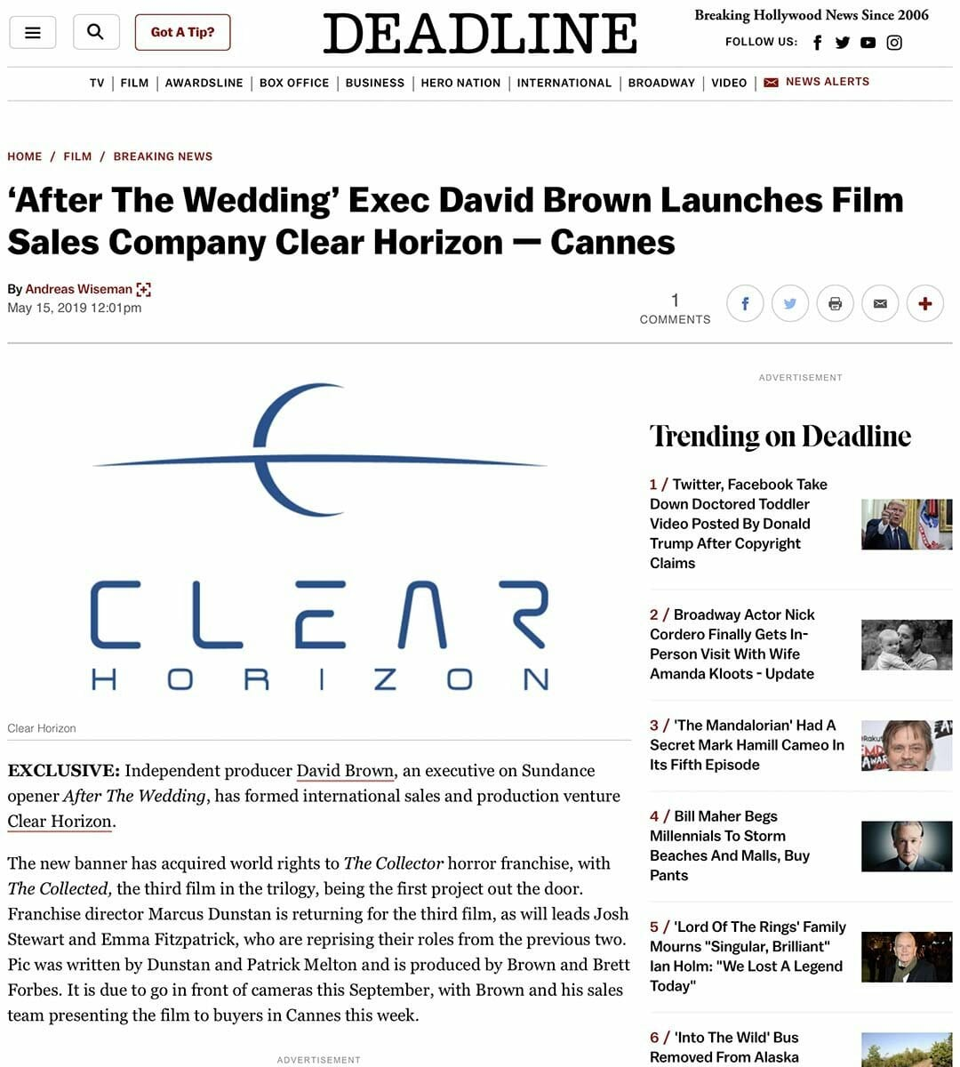 DEADLINE: 'After The Wedding' Exec David Brown Launches Film Sales Company Clear Horizon — Cannes