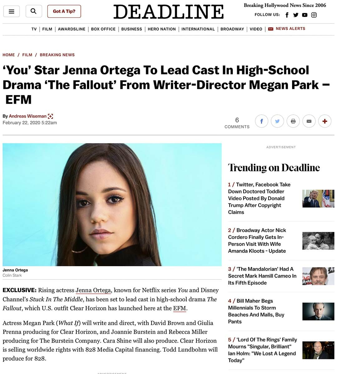 DEADLINE: 'You' Star Jenna Ortega To Lead Cast In High-School Drama 'The Fallout' From Writer-Director Megan Park – EFM