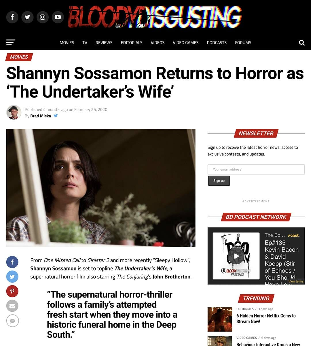 BLOODY DISGUSTING: Shannyn Sossamon Returns to Horror as 'The Undertaker's Wife'