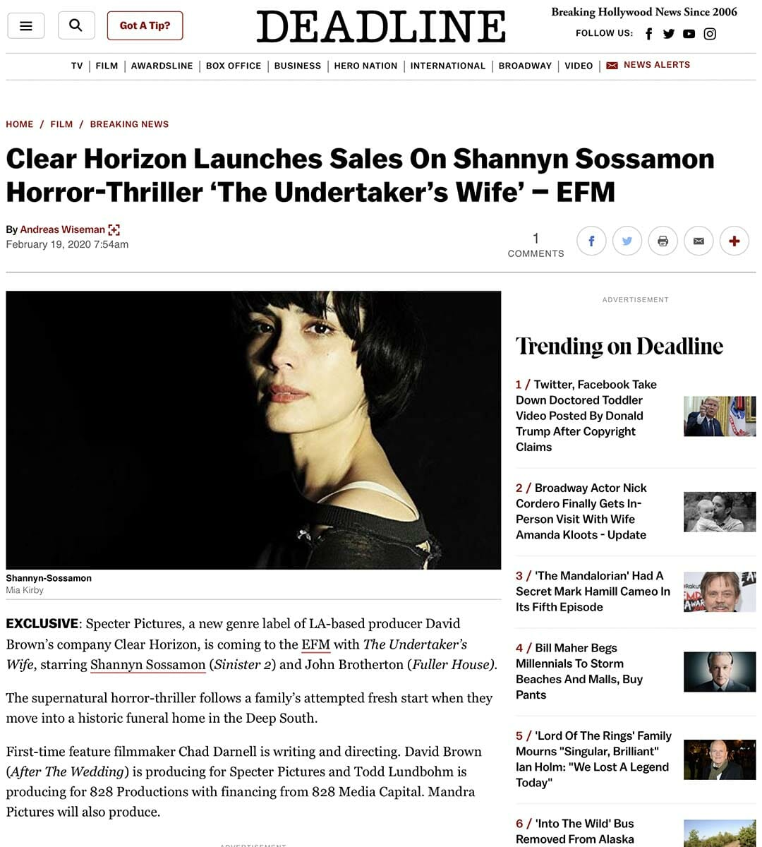 DEADLINE: Clear Horizon Launches Sales On Shannyn Sossamon Horror-Thriller 'The Undertaker's Wife' – EFM