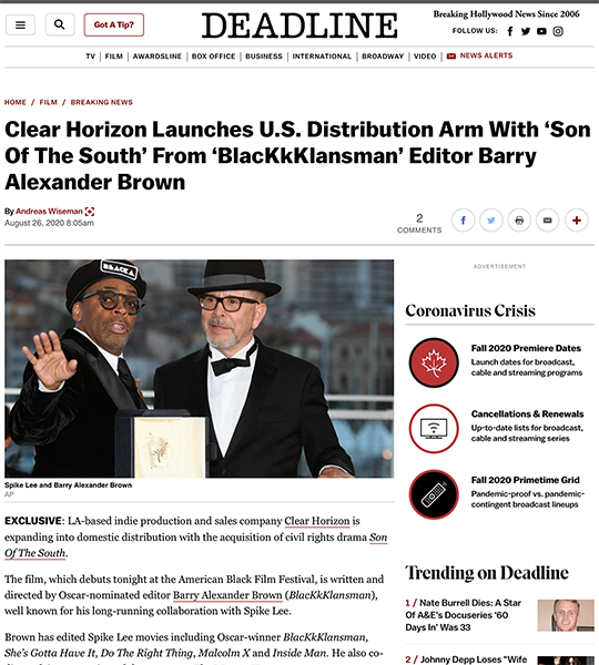 DEADLINE: Clear Horizon Launches U.S. Distribution Arm With 'Son Of The South' From 'BlacKkKlansman' Editor Barry Alexander Brown
