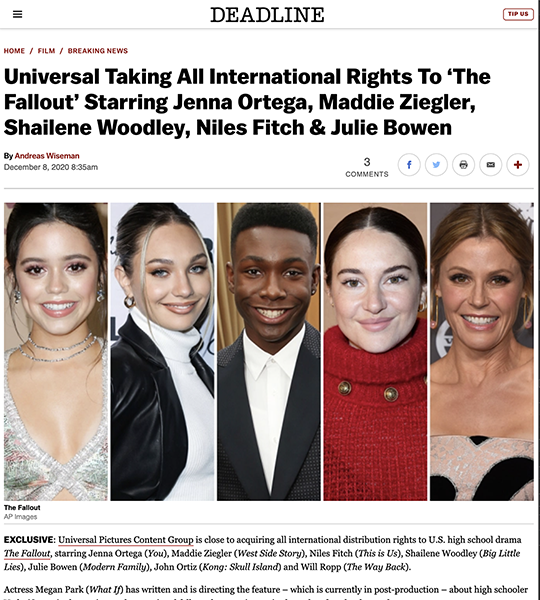 DEADLINE: Universal Taking All International Rights To 'The Fallout' Starring Jenna Ortega, Maddie Ziegler, Shailene Woodley, Niles Fitch & Julie Bowen